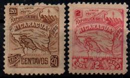Nicaragua 1896, Scott 89E 89H, MH, Wmk, Map - Nicaragua