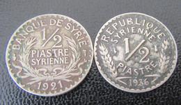 Syrie - 2 Monnaies : 1/2 Piastre 1921 Et 1936 - Syria