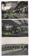 3 CARTES PHOTOS - 17 - SAINTES - LA GARE - ATELIER DE MONTAGE - REMISE A MACHINES - BOMBARDEMENT 44 RECONSTRUCTION EN 47 - Saintes