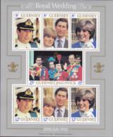 Guernsey, 1981, 225/31 Block 23, Hochzeit Von Prinz Charles Und Lady Diana Spencer. MNH ** - Guernsey