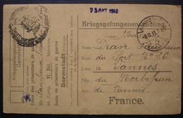 Darmstadt Camp De Prisonniers 1918 Félix Faucheux 26 Comp Vi Bat  Carte Pour Vannes - Guerra Del 1914-18