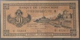 Indochine Indochina Vietnam Viet Nam Laos Cambodia 20 Piastres AU Banknote Note 1942-45 - Pick# 71 / 02 Photo - Indochina