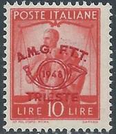 1948 TRIESTE A CONVEGNO FILATELICO 10 LIRE MNH ** - RE12-9 - Mint/hinged