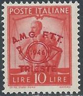 1948 TRIESTE A CONVEGNO FILATELICO 10 LIRE MNH ** - RE12-8 - Mint/hinged
