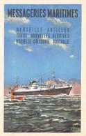 Océanie - Bateau Paquebot Dessiné MESSAGERIES MARITIMES : Marseille, Antilles, Tahiti, Nouvelles Hébrides, Australie.... - Other