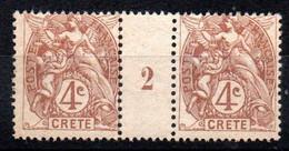 CRETE - N° 4 Paire Millésime - Neuf ** - MNH - Type Blanc - Ungebraucht