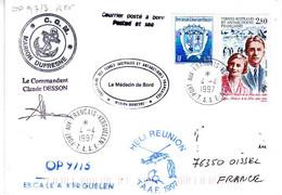 FSAT TAAF Marion Dufresne. 04.04.97 Kerguelen Aubert De La Rue. Cachet Medecin - Covers & Documents