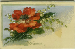 C. KLEIN - EMBOSSED POSTCARD 1900s - FLOWERS -  (BG1100) - Klein, Catharina