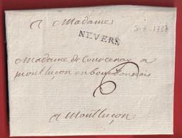 MARQUE NEVERS NIEVRE 1787 LN°9 INDICE 12 MONTLUCON ALLIER - 1701-1800: Vorläufer XVIII