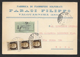 TESTATINA PUBBLICITARIA VALGUARNERA ENNA FABBRICA DI FIAMMIFERI FARACI IN ASSICURATA 1941 N° B183 - Advertising