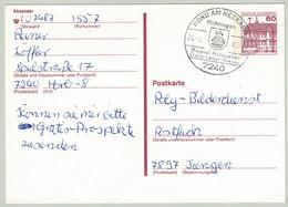 Deutsche Bundespost 1983, Ganzsachenkarte Schloss Rheydt Horb - Tiengen, Mühringen, Heilquellen, Galle, Leber, Niere - Termalismo