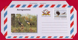 UGANDA Aerogramme MNH Crested Cranes With Imprinted Stamp Showing Fish Eagle Ouganda - Uganda (1962-...)