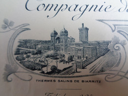 FACTURE - 64 - DEPARTEMENT PYRENEES ATLANTIQUES - BIARRITZ 1921 - CIE DES THERMES SALINS DE BIARRITZ - Non Classés
