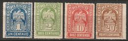 Mexico 1914 Sc 354-5,358-9  Partial Set MH* Some Disturbed Gum - Mexico