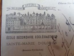 FACTURETTE - 64 - DEPARTEMENT PYRENEES ATLANTIQUES - OLORON ST MARIE 1891 - ECOLE SECONDAIRE ECCLESIASTIQUE - Unclassified