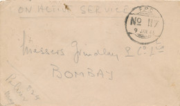 Nederlands Indië - 1946 - FPO 117 - Fieldpost Indian Army - On Active Service - Van Batavia Naar Bombay / India - Netherlands Indies