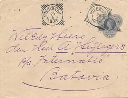 Nederlands Indië - 1908 - 10 Cent Wilhelmina, Envelop G26 Van VK Poerwodadi Naar Batavia - Netherlands Indies