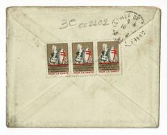 """3 Vignettes """"Pour La Santé"""" Comité National De Défense Contre La Tuberculose Sur Lettre, Circulé 1929 - Erinnofilie"""