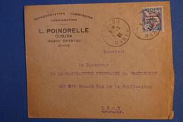 O6 MAROC   LETTRE 1921 PETIT BUREAU OUJDA POUR LYON FRANCE + SURCHARGE+ AFFRANCHISSEMENT PLAISANT - Lettres & Documents