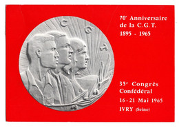 CPM Publicité Syndicalisme 70 ème Anniversaire De La CGT Circulee Le 17 Mai 1965 - Labor Unions
