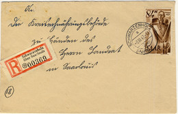 SARRE / SAARLAND 1947 - Yv.214 / Mi.224 84pf Sur LSC Recommandée De SCHWARZENHOLZ über SAARLOUIS Pour Saarlouis - Usados