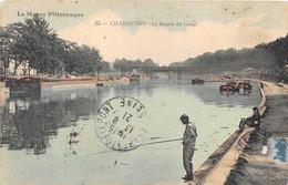 """VAL DE MARNE  94  """"LA MARNE PITTORESQUE"""" N°25 - CHARENTON - LE BASSIN DU CANAL - PECHEUR, PENICHES - Charenton Le Pont"""