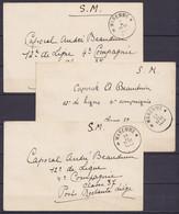 Lot De 3 Carte En Franchise Militaire (S.M.) De WAREMME Octobre & Novembre 1939 (période De Mobilisation) Pour Poste Res - Lettres