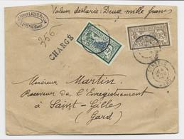 MERSON 50C +45C PETIT DEFAUT ANGLE LETTRE HARGE GENERAC 4 NOV 1908 GARD POUR ST GILLES - 1900-27 Merson