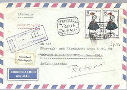 CARTA   CERTIFICADA  1969   ANDRAITX  A WALDBROL  DEVUELTA  - RETOUR - 1961-70 Cartas