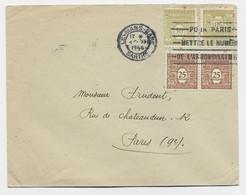 ARC TRIOMPHE 25C PAIRE +50C PAIRE LETTRE MECANIQUE LE MANS GARE 4.XII.1944 SARTHE - 1944-45 Arc Of Triomphe