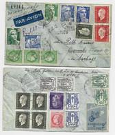 GANDON DULAC MAZELIN CHAINE  HITLER LETTRE  AVION REC PROVISOIRE LES ROCHES DE CONDRIEU ISERE 25.4.1946 POUR COLOMBIE - 1945-54 Marianne De Gandon