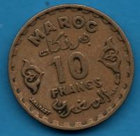 MAROC EMPIRE CHERIFIEN 10 FRANCS 1371 (1952) Y# 49 Mohammed V - Morocco
