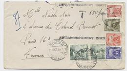 TAXE 3FR+4FR+10FR+20FR PARIS 1955 LETTRE COVER ESPANA 40CX2 MADRID + AFFRANCHISSEMENT INSUFFISANT - Postage Due Covers