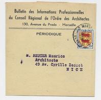 BLASON 1FR BEARN SEUL BANDE COMPLETE MARSEILLE 24.2.1955 AU TARIF - 1921-1960: Periodo Moderno