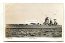 HMS Rodney, British Battleship - Old Real Photo Postcard - Guerra