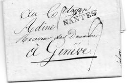"""1802.20 GERMINAL AN 10. """"42-NANTES"""". LAC POUR GENEVE (SUISSE).PORT DU 9.(28). - 1801-1848: Precursors XIX"""