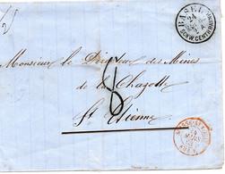 """1863.""""BASEL..."""" POUR LA FRANCE.TAXE 8."""".AMB.E-SUISSE-ST LOUIS"""". - Postmark Collection"""