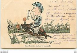 N°13871 - Frédillo - Chamberlain Fuyant Le Remords - Têtes De Mort, Cafard, Hanneton - Sátiras