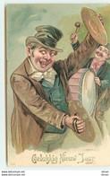 N°15061 - Carte Gaufrée - Gelukkig Nieuw Jaar - Homme Jouant Avec Des Cymballes - Neujahr