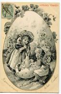CPA  (Paques) Enfants  Lapins  Oeuf  ( époque 1900 ) - Ostern
