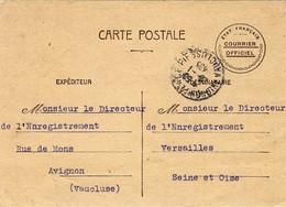 """1943-  C P  """" ETAT FRANCAIS / COURRIER OFFICIEL """" D'Avignon Pour Versailles ( Voyagée ) - Guerra De 1939-45"""