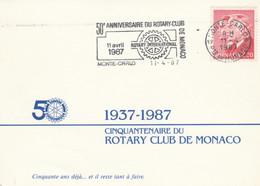 Monaco - 50° Rotary Club De Monaco - Annullo Speciale A Targhetta. - Rotary, Lions Club