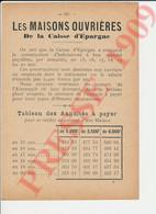 Publicité 1909 Maisons Ouvrières Caisse D'Epargne Aube Ervy Estissac Piney Chavanges Saint-Mards Auxon Lusigny  250/11 - Unclassified