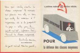 TRACT 1955 DU PARTI RADICAL SOCIALISTE SIGNE DE PIERRE MENDES FRANCE POUR LA DEFENSE DES CLASSES MOYENNES - Organizations