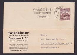 Deutsches Reich Brief Postsache Maschinenstempel Dresden A 16 Vergiß Straße Und  - Unclassified