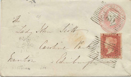 "GB ""360"" Scottish Numeral (LAUDER) On Very Fine QV 1d Pink Postal Stationery Env - Scotland"
