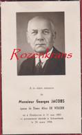 Georges Jacobs Alice De Volder Zonhoven Schaerbeek Schaarbeek Bidprentje Met Foto Photo Doodsprentje  Image Mortuaire - Devotion Images