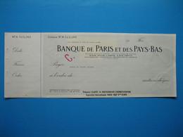 (1937) Chèque De La BANQUE De PARIS Et Des PAYS-BAS - Cheques & Traveler's Cheques