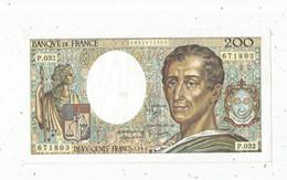 JC ,G, Billet , France ,MONTESQUIEU , 200 , Deux Cents Francs, 1985 , Alphabet :  P.032 , 2 Scans , Frais Fr 1.75 E - 200 F 1981-1994 ''Montesquieu''