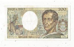 JC ,G, Billet , France ,MONTESQUIEU , 200 , Deux Cents Francs, 1986 , Alphabet :  J.041 , 2 Scans , Frais Fr 1.75 E - 200 F 1981-1994 ''Montesquieu''